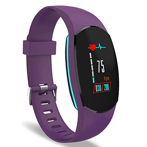 YoYoFit Heart Rate Monitor, Egg Color Display Wristband Fitness Trackers Watch, Smart Bracelet Pedometer Watch with Steps/Calorie / Distance Counter, SMS/SNS and Call Reminder, Plum
