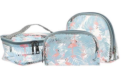 3-Teilige PVC Transparent Kulturtasche für Flüssigkeiten im Handgepäck & Flugzeug Durchsichtig Kulturbeutel für Frauen Mädchen Kosmetiktasche zur Flugreise Urlaub Business Reisen (Flamingo-A)