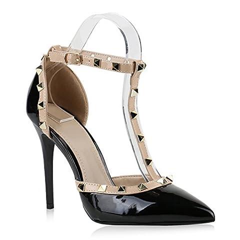 Damen Spitze Pumps Stiletto High Heels Hochzeit Braut Abiball Abend Nieten Slingpumps Damen Schuhe 144167 Schwarz Nieten 38   (High Heels Pumps)