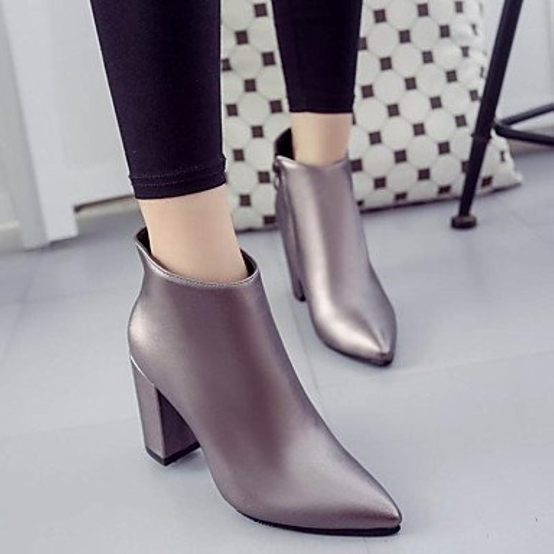 DESY Mujer Zapatos PU Otoño Invierno Confort Botas Tacón Robusto Botines/Hasta el Tobillo Para Casual Negro Rojo...