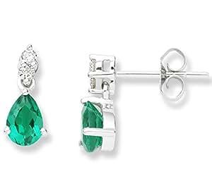 Miore UNI007EW 9 ct White Gold 0.08 ct Diamond and Created Emerald Drops Earrings