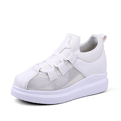 Damen Plateau Rundzehen Schnürschuhe Aufzug Atmungsaktiv Bequeme Freizeit Schuhe Weiß,Mesh