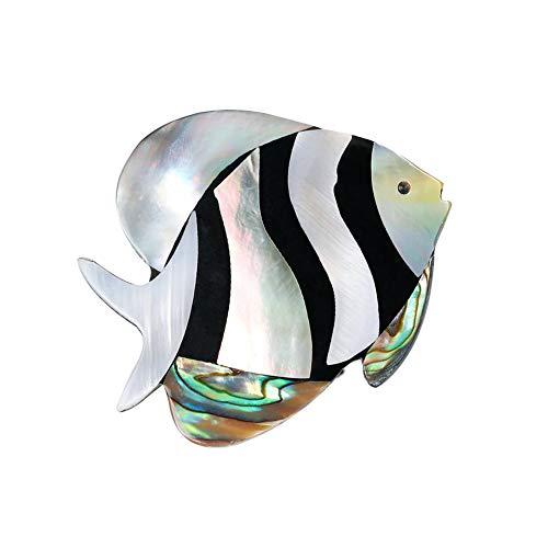 Lumanuby 1x Ambilight Süß Tropischer Fisch Breastpin Unisex für Anzug oder Kleider Perlenschale Anstecker Strass mit Pin für Tägliches Tragen oder Party, Brosche Serie Size 3.7x4.5cm -