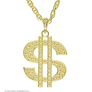 Gold Dollar Necklace Fancy Dress Costume Jewellery for Outfits Bling Accessories Accessory ALL THEMES