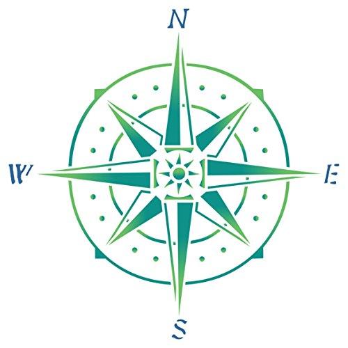 Kompass-Schablone - Wiederverwendbare Schablone mit nautischem Symbol, ideal für Papierprojekte, Scrapbook, Bullet-Tagebuch, Wände, Böden, Stoff, Möbel, Glas, Holz usw. L