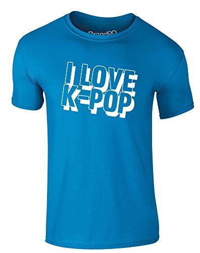 Brand88 - I Love K-Pop, Erwachsene Gedrucktes T-Shirt Azurblau/Weiß