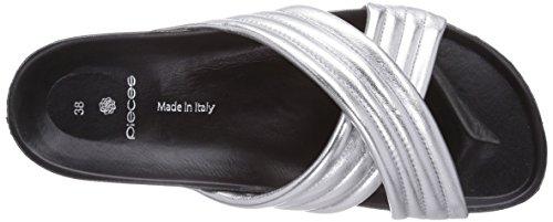 PIECES  PS TAHI LEATHER SANDAL SILVER, Sandales pour femme Argent - Silber (Silver Colour)