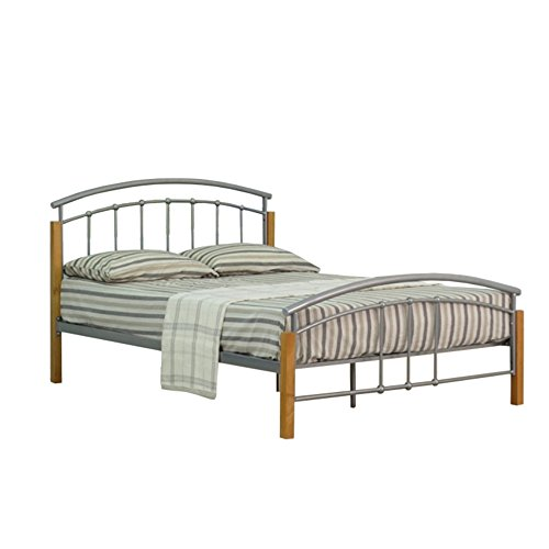 4ft6 Double Classic Style Metal with Wooden Detail Bed Frame in Silver