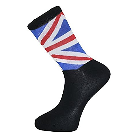 Pack of 6 Cotton Blend Union Jack Flag Socks (BLACK)