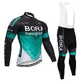 Mininess Cyclisme Vêtements Set Long Hiver Thermique Polaire Manches Coupe-Vent Cyclisme Jersey, L