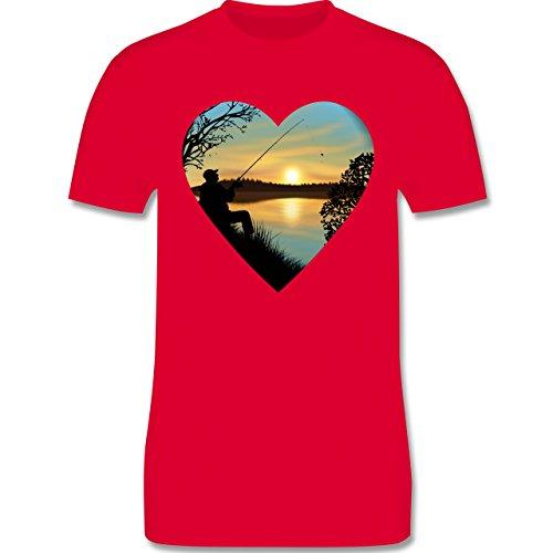 Angeln - Angeln im Sonnenaufgang Herz - Herren Premium T-Shirt Rot