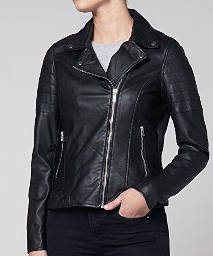 Goosecraft, Veste en cuir femme, Perfecto 113, du S au XXL, Blouson cuir véritable Femmes Noir Noir