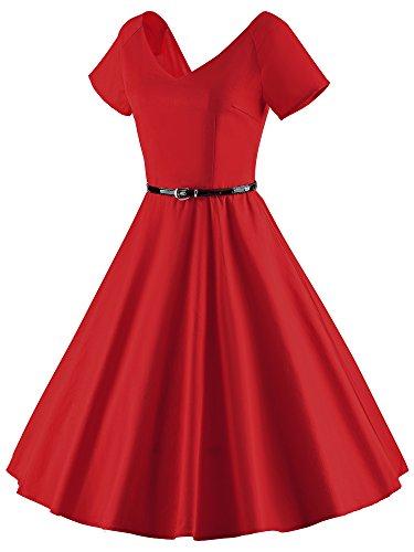 iLover Vintage 1950's Audrey Hepburn pin-up robe de soirée cocktail Rouge