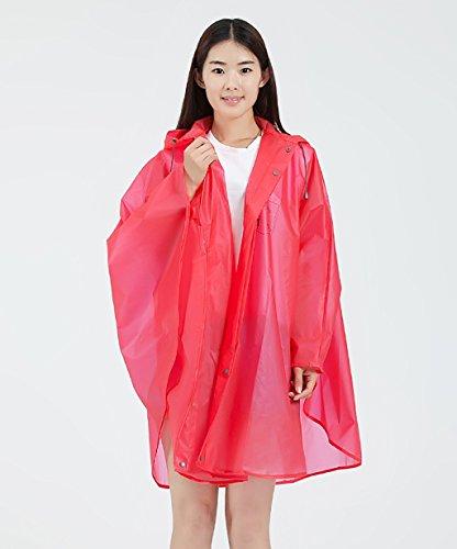 LHP Regenponcho Wasserdichte Regenmantel Mode Outdoor Wandern Portable Regenmantel Weibliche Umhang Poncho ( Farbe : Grau , größe : L ) Rot
