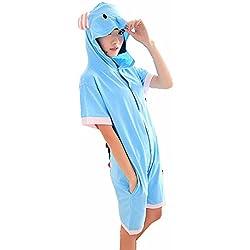 Colorfulworld Verano de la Manga Corta Pijama de Algodón de Elefante Unisex par de Hombres y Mujeres con Capucha Delgada Cosplay Pijama (XL)