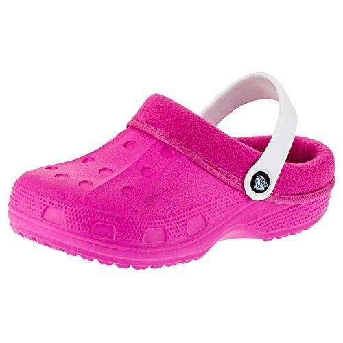Gefütterte Kinder Clogs für Jungen und Mädchen Unisex Winter Schuhe Pantoffel M479piws Pink Weiß 26/27 EU