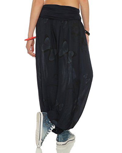 ZARMEXX Pantaloni donna Harem Bloomers Harem di Pantaloni estivi Pantaloni Yoga Aladin Pantaloni casual Taglia unica farfalla-marina