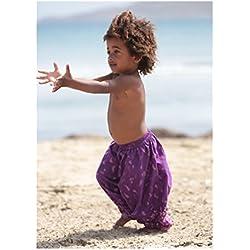 lovemeels - Pantalón - para bebé niña Morado Purple Print 24 meses