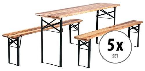 Stagecaptain 5er Set Hirschgarten Bierzeltgarnitur 177 cm Länge (5 x Tisch, 10 x Bank, Holz,...