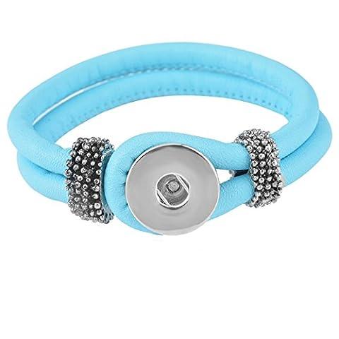 Souarts Bleu Ciel PVC Bracelet pour Bouton a Pression de 5.5mm 21cm 1PC