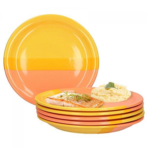 Große, Runde Servierplatte (Van Well Essteller Orange Morning 6er Set | rund Ø 24 cm | große Speiseteller für 6 Personen | Servier-Platten | gelb-orange | Marken-Porzellan | Gastronomie)