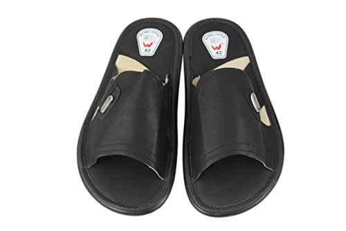 Natleat Slippers  Genuine Soft Calf Leather Sandals Flip-flop, Sandales pour homme Noir noir Noir - noir