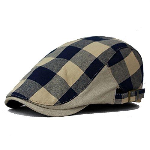 Kuyou Casquette Plate Unisexe Chapeau Béret Check Newsboy Flat Cap Bleu Marine