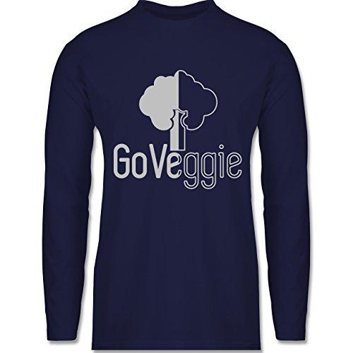 Shirtracer Küche - Go Veggie Vegetarier - Herren Langarmshirt Navy Blau
