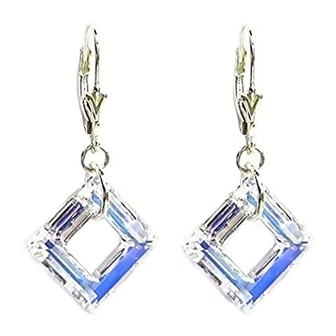 Swarovski Elements Crystal Clear AB Square Sterling Silver Leverback Dangle Earrings (1.5 in)