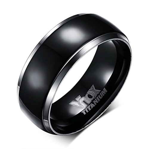 Vnox 8mm Pure Black Titanium Ring for Men with Titanium Engrave,Black Center with 2 Silver Edge Line