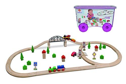 *Eichhorn 100001275 – Schienenbahn Bahnset mit Brücke in Kunststoffbox, 55 teilig*