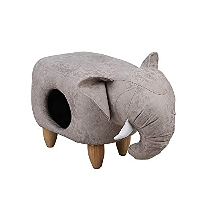 ZMMAIndoor stool dog's nest cat's nest winter warm closed indoor solid wood pedal PU leather stool nest by ZMMA