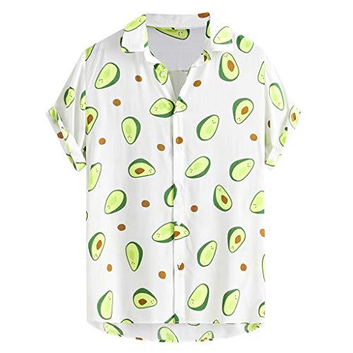 friendGG Herren Lustige Gedruckte Turn Down Kragen Kurzarm Freizeithemden T-Shirt Pullover Bluse Hemden Bedruckt LäSsige Krawatte Sommer Tops Hawaiihemd Funky Casual Mode Druck Retro Shirt Ausschnitt