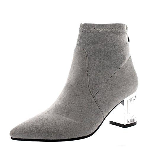 Damen Perspex Blockabsatz Reißverschluss Mode Schuh Spitze Stiefeletten Grau Wildleder
