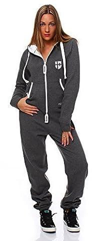 Hoppe Damen Jumpsuit Jogger Einteiler Jogging Anzug Trainingsanzug Overall (S, Grau)