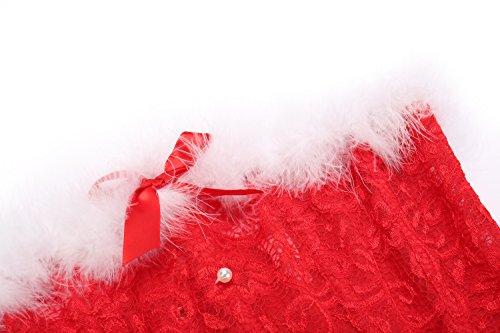 MISS MOLY Weihnachtskostüm|Damen Korsage Korsett Kleid Dress Die Festliche Stimmung Anfüllen Vier Muster Korsage1