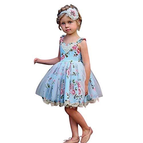 Exklusives Brautkleid (LEXUPE Kleinkind Kinder Mädchen Kleid Blume Spitze Tüll Prinzessin Party Pageant Brautkleider(Blau,110))
