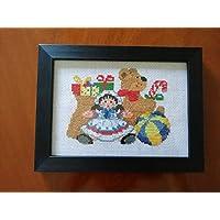 Regali di Natale - dimensione 20 x 15 - completo di cornice - punto croce - Cross-stitch - cornice nera