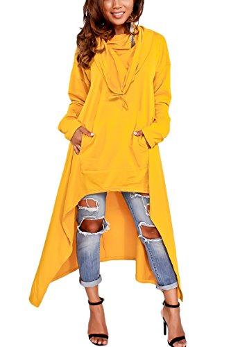 Bai You Mei Damen Mode Herbst Lang Pullikleid Hoodie Sweatshirts Casual Mini Kleid Plus Größe Gelb 38