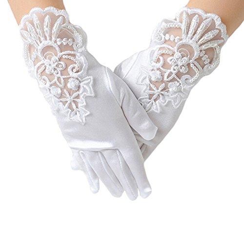 en Kinder Spitze Handschuhe Bestickt für Halloween Weihnachten Hochzeit Performance Weiß (1 Paar) ()