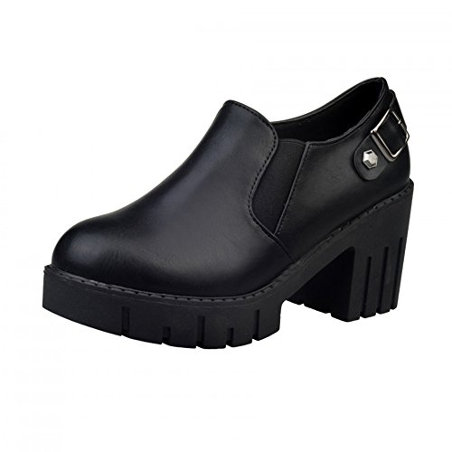 cerniera stivali per l'autunno/inverno/Scarpe piattaforma Chunky tacchi/Semplice Joker Martin-A Lunghezza piede=22.8CM(9Inch)