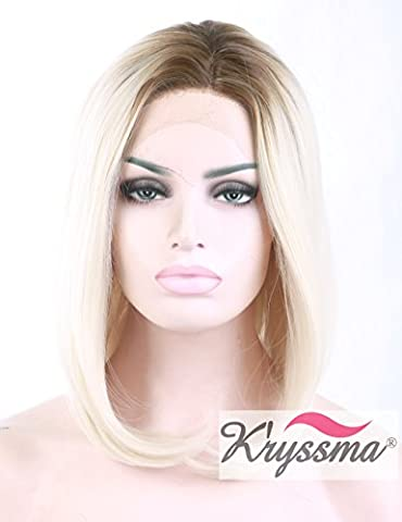 K'ryssma Ombre Short Bob Wigs Synthetic Hair for Girls Brown Roots Lace Front Wig Shoulder Length Half Hand Tied Heat Safe