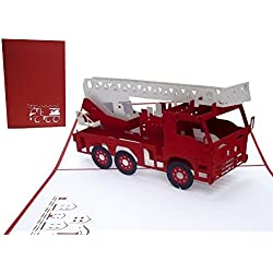 LIN - Pop Up Karte Feuerwehrauto, Geburtstagskarte, Grußkarte Feuerwehr, Feuerwehrkarte, 3D Karte Feuerwehr, Löschzug - Gutschein, Geburtstagskarte Feuerwehrauto (Nr. 216)