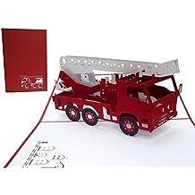 Lin–Pop Up carte de vœux pour anniversaire d'enfant, Fire Truck, fait à la main, (# 216)