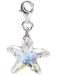 94800aefc3f Sterling Silver Swarovski Element AB Crystal Starfish Clip on Charm for  Charm Bracelets