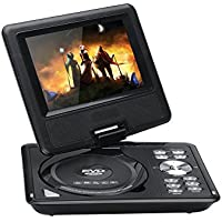 7 Inch Kids Portable DVD Player - Wide screen TFT Color Display, eBook, FM Radio, Game Controller, TV Antenna (Black)