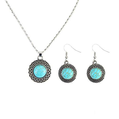 Xiang Retro Nationale Turquoise Pendentif Boucles D'oreilles Collier Ensemble De Bijoux Pour Femmes Xiang