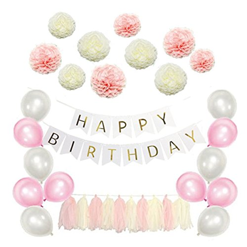 Amosfun 51 Pcs Tissue Paper Flowers Pom Poms Tassels DIY Paper Garland Balloons Kit for Birthday Wedding Party Decoration (Pink Series)