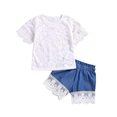 Daoope abbigliamento bambina estate 18 mesi abbigliamento vestiti bambino 18 24 mesi bambina maglietta e pantaloni ragazze top a manica corta per bambini in pizzo + jeans pantaloncini set