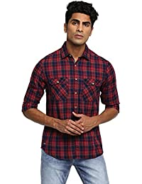 RUF & TUF Checked Red Coloured Cotton Shirt